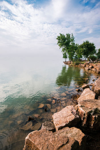 The end of the world Calm Cloud Day Dream End Fine Art Photography Horizon Idyllic Lake Nature Rock Rock - Object Scenics Shore Sky Surreal Surrealism Tranquil Scene Tranquility Unreal Vanishing Point Water World