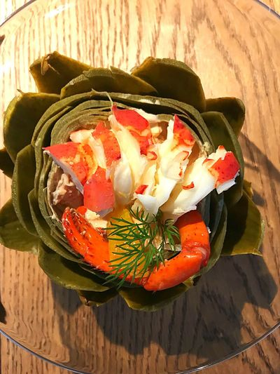 Lobster Salat Artichoke Yummy Salat Lobsters Food And Drink Vegetable High Angle View Bowl