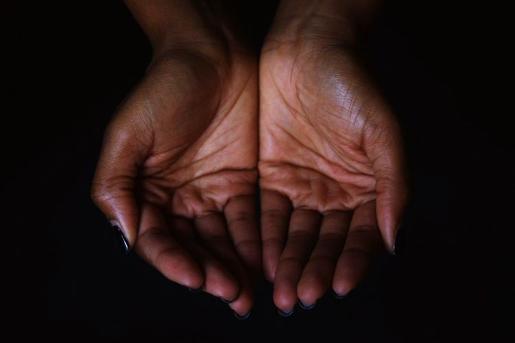 Hands SURRENDER Love Black Woman Black Background Close-up Palm People Real People Inner Power