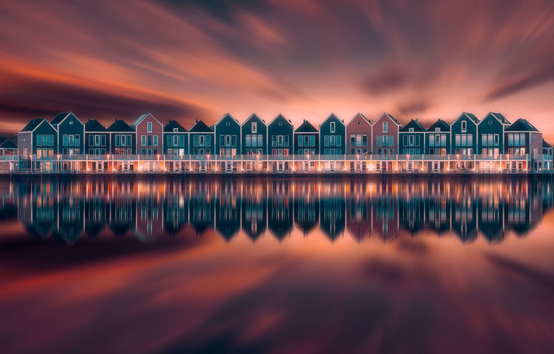 Dramatic Sky Remo SCarfo Wooden Houses Architecture Beach Beauty In Nature Building Building Exterior Built Structure Cloud - Sky House Hut Nature No People Outdoors Refelction  Reflection Residential District Scenics - Nature Sea Sky Sunset Tranquility Water