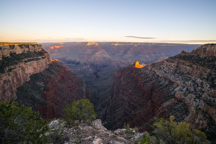 Scenic view of mountains at grand canyon national park during sunrise