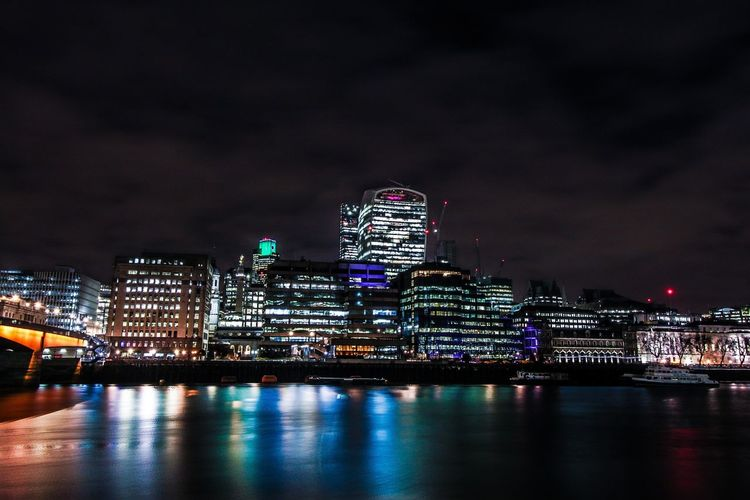London. Night Travel Destinations Reflection Architecture Building Exterior Skyscraper Urban Skyline Cloud - Sky Modern Street Photography Reflection Europe Built Structure Business London Travel Photography