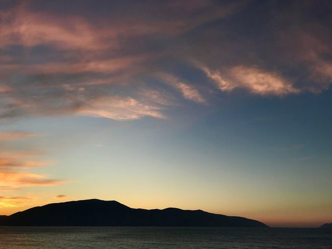 Albania Radhime #Radhime Sunset Scenics Sea Sky Silhouette Nature Beauty In Nature Tranquil Scene Mountain Tranquility Cloud - Sky Outdoors No People Day Water