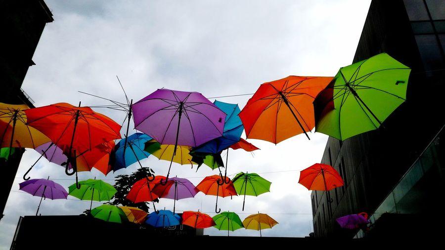 Multi Colored Umbrellarevolution Hiding Under Umbrella Traveling Its Gonna Rain Sky Day Outdoors Summer ☀ Lazyafternoon