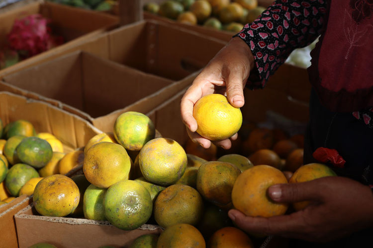 Cropped image of hand holding apples at market stall