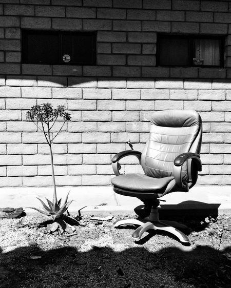 Empty chairs against wall in yard