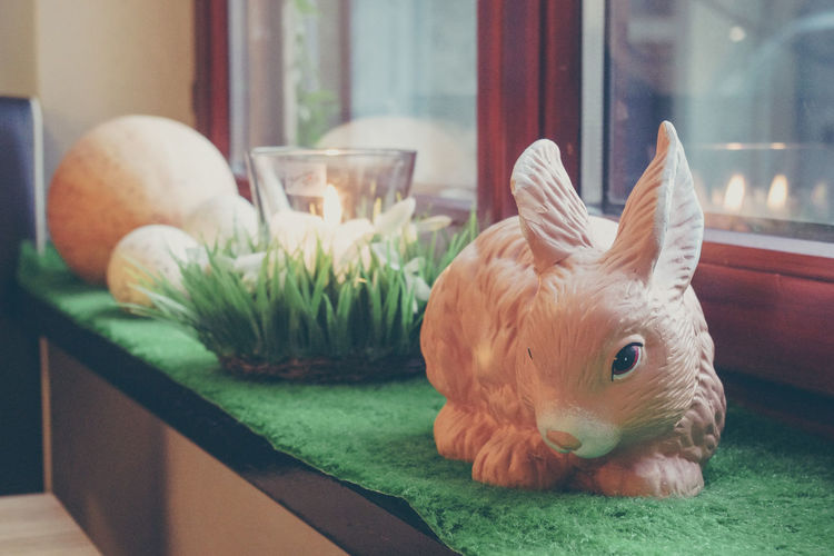 Close-Up Of Easter Bunny On Table By Window At Home