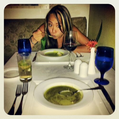 Decided to eat at the fancy restaurant and it was the same lame 3 choice menu...gotta say we are getting tired of veggie crepes and spinach soup...