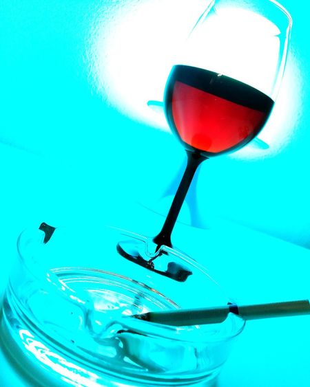 Wineglass Red Blue Cigarette  No People Vinrouge Flying High
