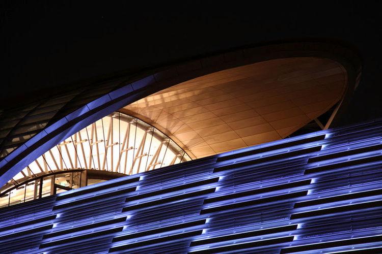 Dubai Dubai Metro Station Cities At Night The Architect - 2016 EyeEm Awards Transportation Structures & Lines Building At Night Structure Modern Architecture Blue Light Lighting Design