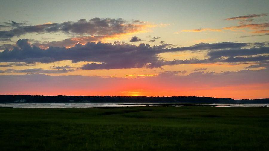 Waking Sunset in Biddeford Pool. Maine Biddefordpool Sunset Nature Photography Nature Sun Marsh Marshland  Beach