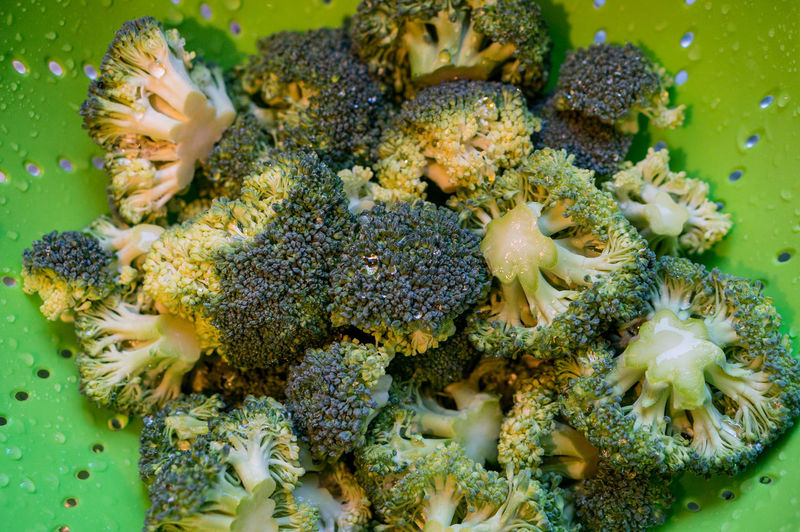 Close-up of fresh wet broccoli in green colander