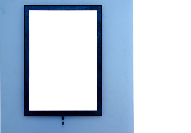Backgrounds Blank Blue Cityscape Close-up Copy Space Day Device Screen Film Industry Flat Screen Liquid-crystal Display MOVIE No People Outdoors Television Show The Media White Background