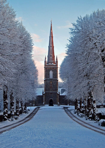 Hillsborough Parish Church in the snow Church Cold Snow Snow ❄ Steeple Tracks Tracks In The Snow Trees Ireland Ireland🍀 Countryside County Down Ice Age ❄