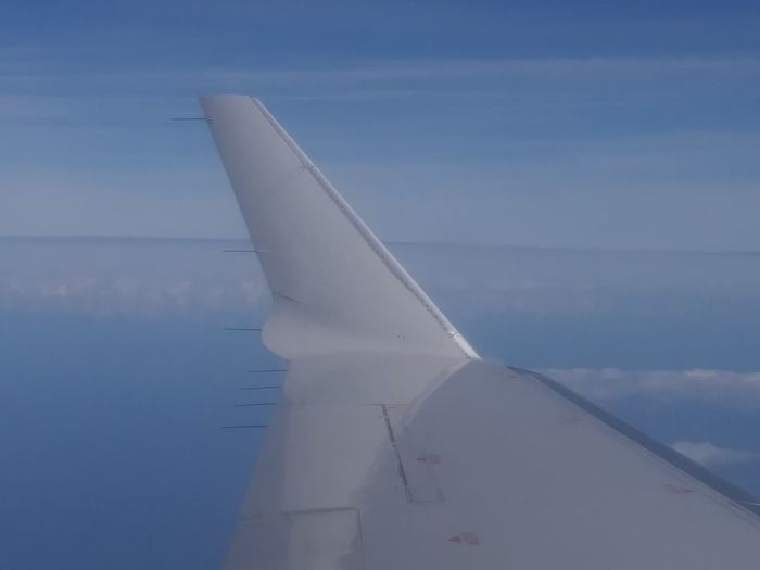 Blue Sky Wingtip Chemtrails😷 American Airlines American Eagle Horizon Window Seat Airplane Wing Window Seat Cloudscapes No Filter No Filter, No Edit, Just Photography No Filters Or Effects Water No People Flying Outdoors Sea Day Nature Sky