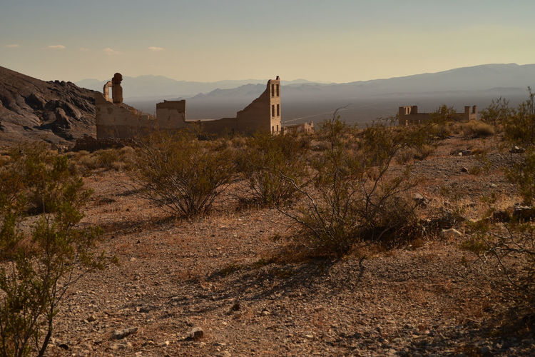 Former town of rhyolite in nevada inow a deteriorating ghost town