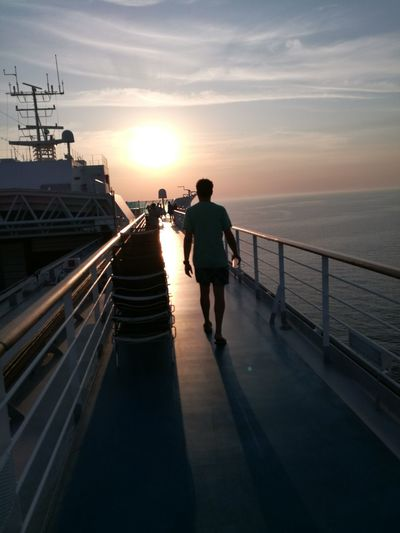 Breathing Space Meeting Sunset Walking To The Sunset Walking On Board Man Shadow Man Walking From Behind