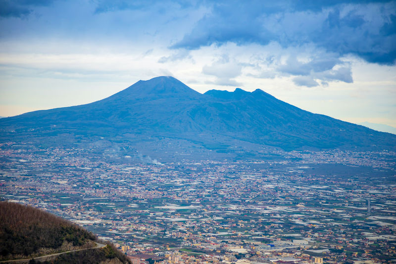 Pompeii  Italy Vesuvio Volcano Panorama Landscape City Mountain Nature Cloud - Sky Sky Scenics - Nature Environment Beauty In Nature Tranquil Scene Tranquility No People Land Day Cold Temperature Snow Outdoors Non-urban Scene Mountain Range Winter Snowcapped Mountain Mountain Peak