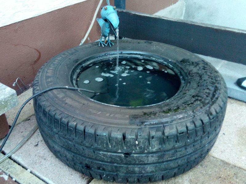 Selfmade Fountain Brunnen Gartenbrunnen Garden Fountain Well  Spring Fountain Bird Wheel Fountain Reifenbrunnen Terrace Water Outdoors