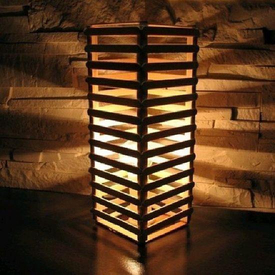 Светильник из палочек от мороженого креатив Светильник своимируками красота необычно необыкновенно оригинально handMade handmade