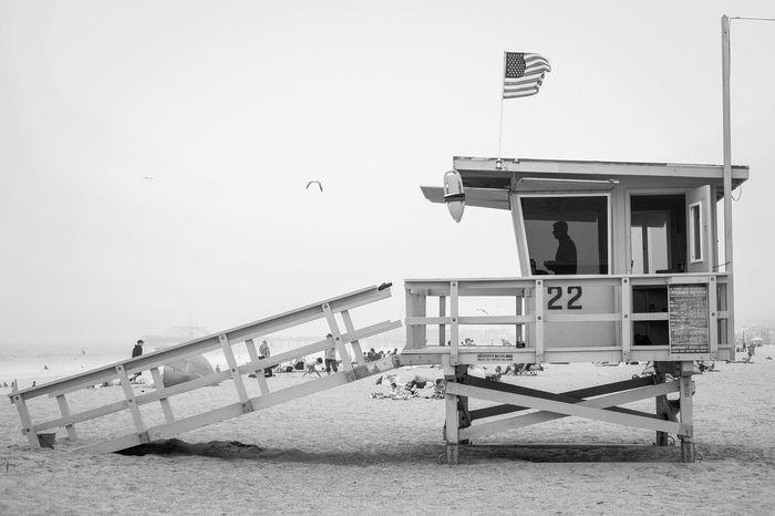 ::On Duty:: Fujifilm Xf35mmf2 Black And White Monochrome Street Photography Life Guard HERO Silhouette Beach Santa Monica California