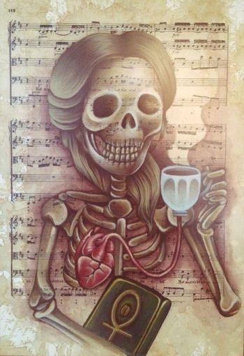 The Coffee Cantata, by: Wickana Laksmi Dewi. Media: Acrylic on Paper.