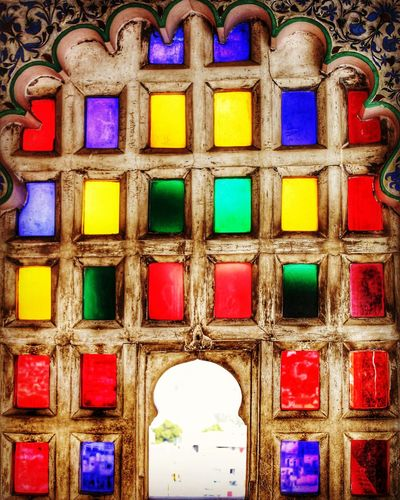 A pop of colorful window! Multi Colored Full Frame Backgrounds Pattern No People Close-up Day Indoors  Architecture