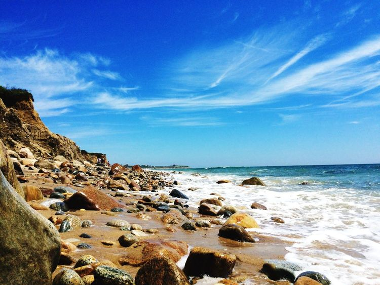 Water rolling on the rocks at Ditch Plains Beach Travel Photography Summer Nature Nature_collection EyeEm Nature Lover Blue Photooftheday New York Hamptons