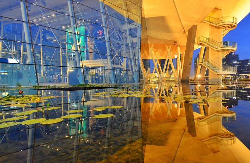 Reflections Museum EyeEm Blue Hour Singapore Building Reflection Photography Reflections In The Water Reflection No People Indoors  Reflection Architecture Built Structure Glass - Material Building Water Travel Destinations Multi Colored Illuminated