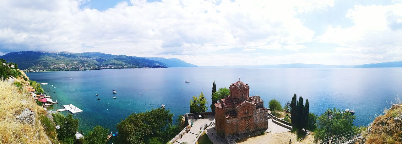 Panoramic view of ohrid lake against sky