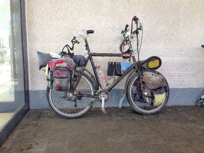 My bike is my home Bicycle Biker Day Land Vehicle Mode Of Transport No People Outdoors Stationary Thats All I Need Transportation