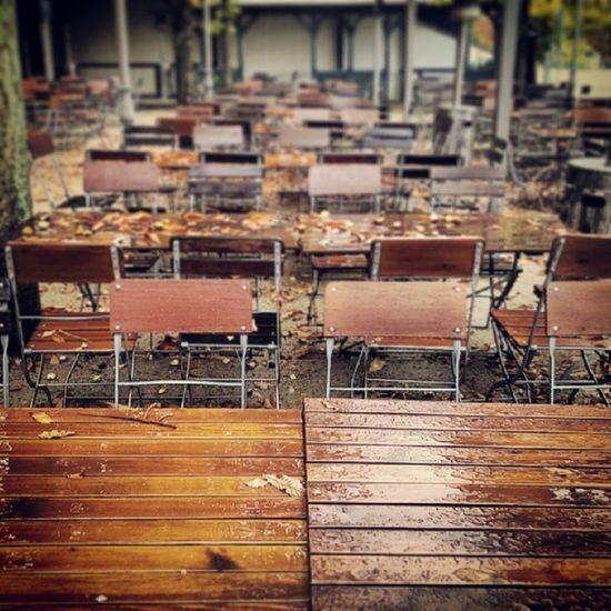 Rain has taken over the beer garden. #Autumn #Rain #Weather #Dresden Weather Rain Dresden Autumn