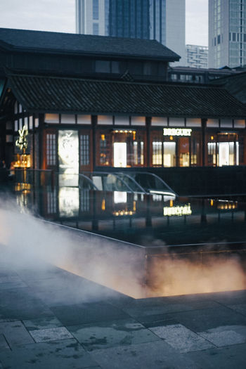 Architecture Building Exterior Chengdu Chinese Mist Shopping Shopping Mall Traditional Traditional Form Water Mist