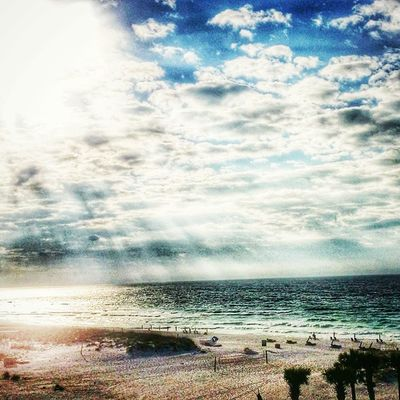 Here comes the sun. Early morning sunrise at Pensacola Beach. Beautiful. HIRpensacolabeach Mygulfcoastgetaway Herecomesthesun Mygcgetaway
