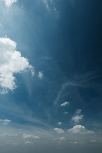 Backgrounds Beauty In Nature Blue Cloud - Sky Cloudscape Day Environment Full Frame Idyllic Low Angle View Meteorology Nature No People Outdoors Scenics - Nature Sky Sunlight Tranquil Scene Tranquility White Color Wispy