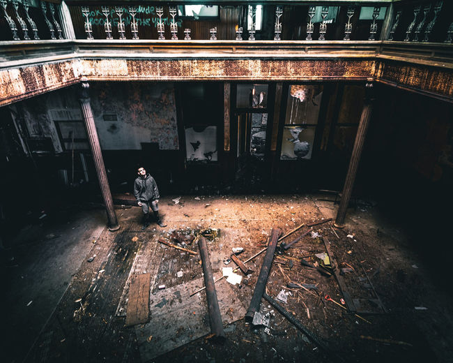 High angle view of abandoned working on building