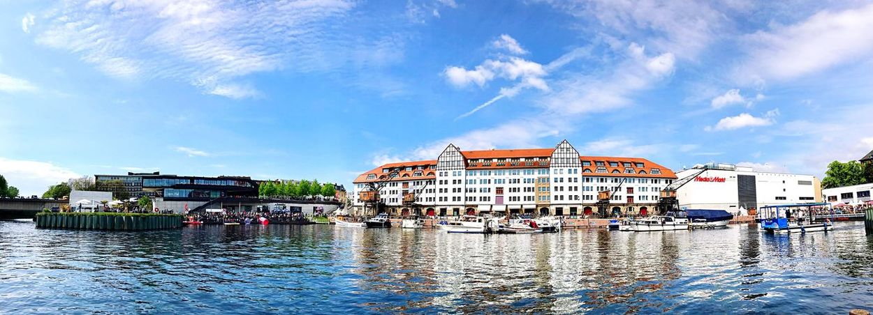 Berlin Tempelhof Low Angle View Panoramic Sky And Clouds IPhone7Plus City Waterfront Water Architecture Sky Hafen Marina Nautical Vessel Panorama Germany Travel Destinations Built Structure
