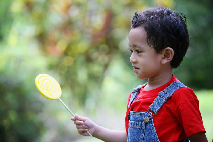 Close-up of boy holding lollipop in back yard