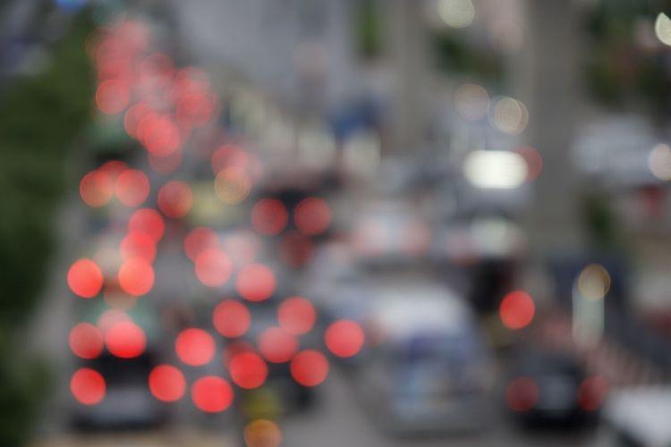 Defocused image of traffic on road