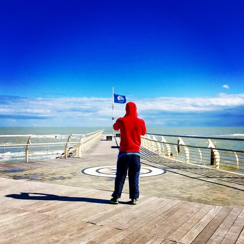 Love Beauty In Nature Blue Casual Clothing Cloud - Sky Day Full Length Horizon Over Water Italy Leisure Activity Men Nature One Man Only One Person Outdoors People Photography Real People Rear View Sea Sky Standing Water Young Adult