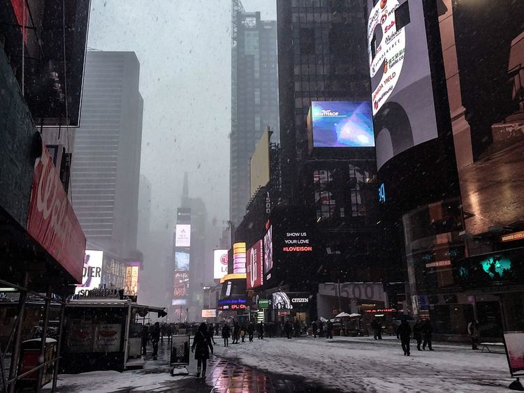 New York Travel Blizzard Iphone5s Cold Cloudy Snow Ice Tourist USA Uk Hull TimesSquare Adventure Travel