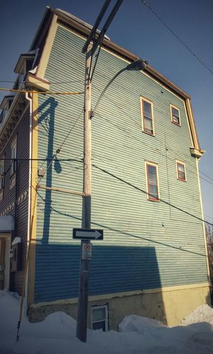 Architecture Indigo House Hidden In Plain Sight Orginal Authentic From The Sidewalks Light And Shadow Wooden House Classic Winter Snow Ice Cold And Sunny  Sunshine The Street Photographer -2016 EyeEm Awards in St. Johns  , Canada The Street Photographer - 2016 EyeEm Awards