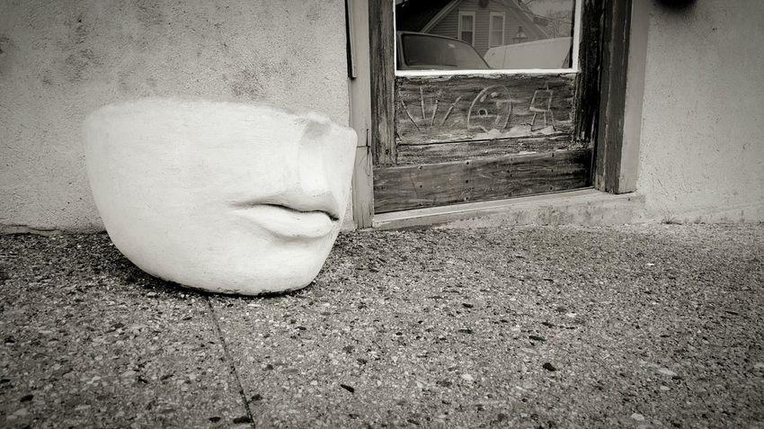 Sidewalk Discoveries Sidewalk Photograhy Ceramic Planter Lips Black & White Edit :)  Rhode Island Photography⚓