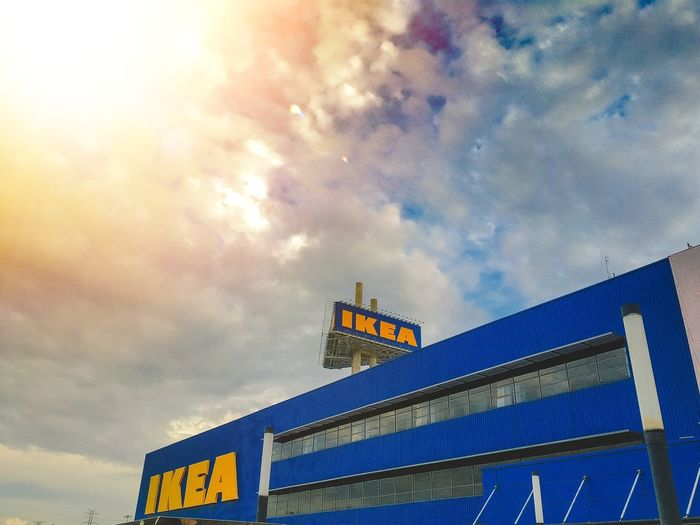 Ikea Multi Colored Illuminated Sky Architecture Cloud - Sky Office Building Skyscraper Tall - High Tower Building Information Settlement Western Script Downtown Urban Skyline Residential Structure