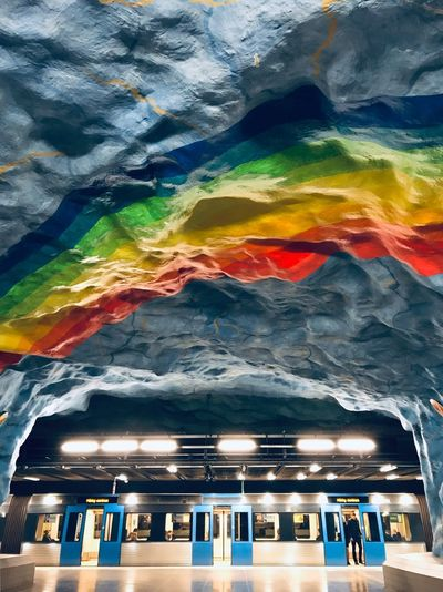 Architecture Art Metro Metro Station ShotOnIphone Stockholm Sweden Multi Colored Architecture Group Of People Incidental People People Illuminated Transportation Travel Destinations Built Structure Real People Lifestyles Travel Nature Night