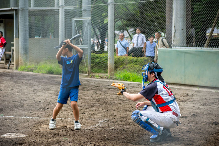 Kids Playing baseball in Tokyo Ball Baseball Bat Boys Catcher Childhood Japan Kids Leisure Activity Men Park Playing Side View Sport Standing Tokyo,Japan