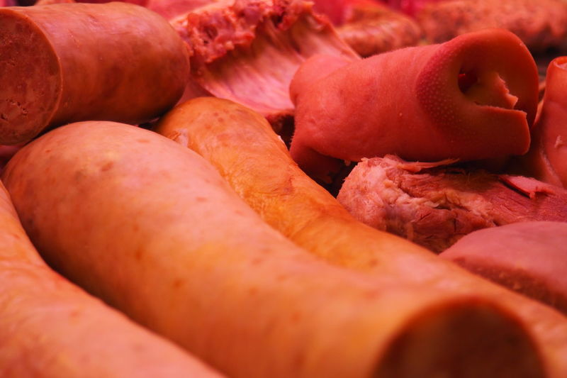 Abundance Butcher Close-up Cooked Pork Delicatessen Food Large Group Of Objects Market Stall Meat Pig Nose Pork Nose Pınky Sausages Selective Focus