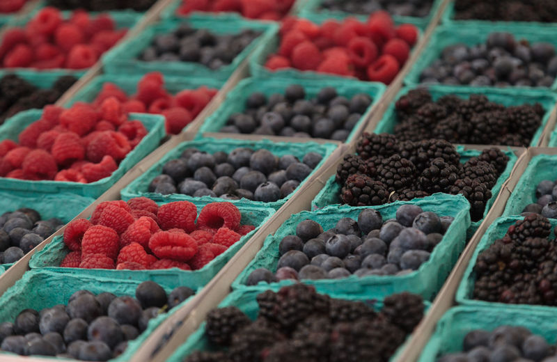 Baskets of organic raspberries, blueberries and blackberries grown on a farm and displayed at a farmers market Abundance Agriculture Basket Berries Berry Black Blackberries Blackberry Blue Blueberries Blueberry Close-up Day Farm Farmers Market Food Freshness Fruit No People Organic Produce Raspberries Raspberry Red Retail