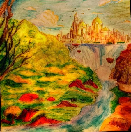 Art, Drawing, Creativity Drawing Sky And Clouds Nature Landscape Waterfall Thelostcity Getting Inspired Urban Escape Zaap'sdraws