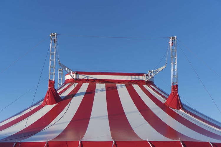 Blue Cable Circus Circus Tent Day Low Angle View Nature No People Outdoors Pole Sky